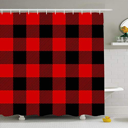 Ahawoso Shower Curtain 72x78 Inches Buffalo Pattern Red Black Lumberjack Plaid Celtic Check Checkered Flannel Rustic Waterproof Polyester Fabric Set with Hooks -