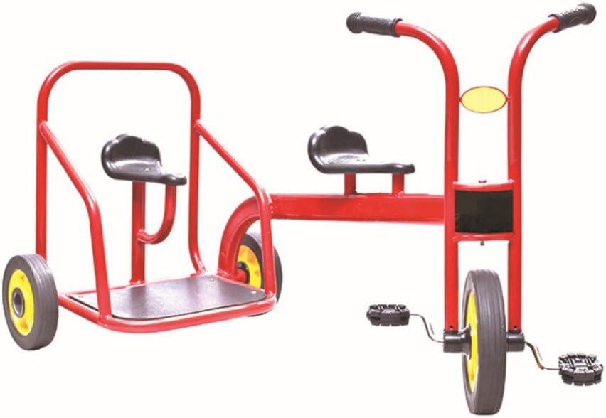 QXMEI Triciclos De Niños Bicicletas De Doble Pedal Coches De Juguete Pedal Coche De Dos Plazas para Niños de 3 A 6 Años (Rojo)