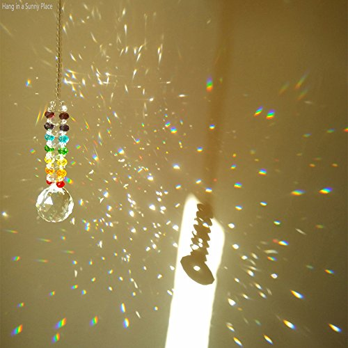 Newmerry Crystal Suncatcher 30mm Crystal Prism Ball Icicle Pendant Chakra Crystal Hanging Light Suncatcher Window Car Rear View,Pack of 2 by Newmerry (Image #4)