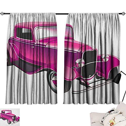 (Hot Pink Microfiber Darkening Curtains Vintage Muscle Car Illustration Retro Revival Vehicle Engine American Curtain for Bathroom Magenta Fuchsia Black W72 x L72 )