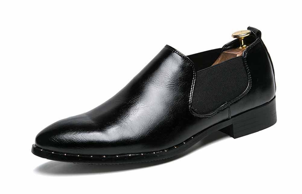 GLSHI Hombre Chelsea Casual Shoes 2018 Primavera Verano New England Slip On Pointed Toe Zapatos de vestir (Color : Negro, tamaño : 43) 43|Negro