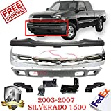 Front Bumper Kit for 2003-2007 Silverado 1500 & Avalanche Base/LS/LT Models Lower Valance Chrome W/Brackets & License Plate Hole Direct Replacement Set of 4 GM1051110 GM1002416 GM1061101 GM1092204