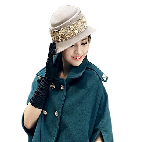 Peng sounded Pure Color Dome Felt Hat Autumn winter Wool Material Lady's Hat. (Hat Drill Wool)