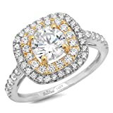 Clara Pucci 1.6 CT Round Cut Pave Double halo Anniversary Promise Engagement Ring Bridal band 14k White Yellow Gold Gold