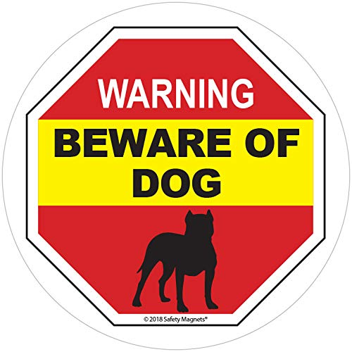 Beware of Dog Sign - Static Window Cling Decal - Easy to Remove and Reposition - Approx. 5 x 5 ()