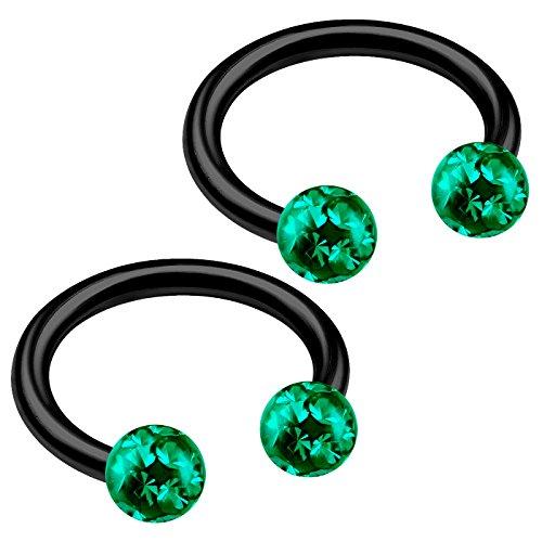 bodyjewellery 2pcs 16g Circular Barbell Black Titanium G23 Earrings Ring Nose Eyebrow Ear Snake Lip Bite Helix Cartilage Tragus B2ICW - Circular Barbell Black
