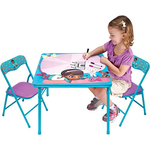 NEW! Disney Doc McStuffins Kids Erasable Activity and Play Folding Table and Chair Set with 3 Dry-Erase Markers