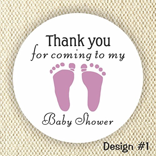 Baby Footprint Favor Stickers - Baby Shower Stickers - it's a girls Favor stickers- Thank you stickers - Lavender color from Philly Art & Crafts
