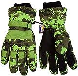N'Ice Caps Boys Cold Weather Waterproof Camo Print Ski Gloves (7-8 Years, Neon Green Digital Camo)