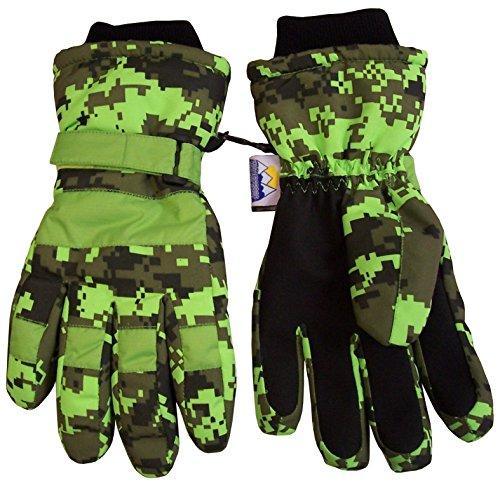 N'Ice Caps Boys Cold Weather Waterproof Camo Print Ski Gloves (6-8 Years, Neon Green Digital Camo)