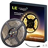 LE 16.4ft 12V Flexible LED Strip Lights, 3000K Warm White, 300 Units 3528 LEDs, Non-waterproof, LED Tape, DIY Christmas Holiday Indoor Party Home Kitchen Car Bar Decoration