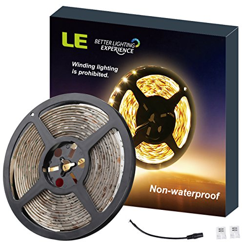LE 16.4ft 12V Flexible LED Strip Lights, 3000K Warm White, 300 Units 3528 LEDs, Non-waterproof, LED Tape, DIY Christmas Holiday Indoor Party Home Kitchen Car Bar (Cut Waterproof Tape)