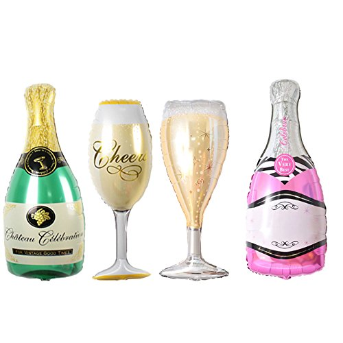 FUNPRT Mylar Champagne Bottle and Goblet Helium Balloons,4 Count -