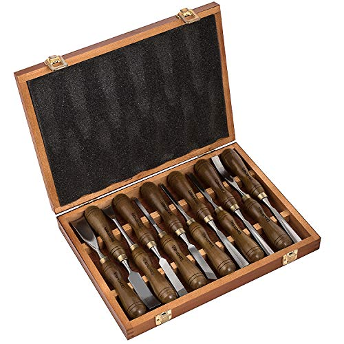 - IMOTECHOM 12-Pieces Woodworking Wood Carving Tools Chisel Set with Walnut Handle, Wooden Storage Case