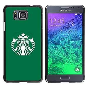 TopCaseStore / la caja del caucho duro de la cubierta de protección de la piel - Coffee Shop Green Brand - Samsung GALAXY ALPHA G850