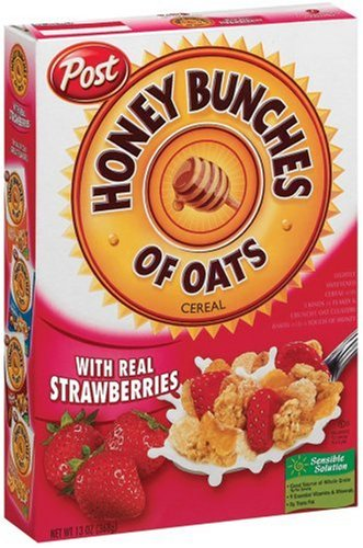 Post Honey Bunches of Oats Cereal with Real Strawberries, 13-Ounce Boxes (Pack of 4) by Post