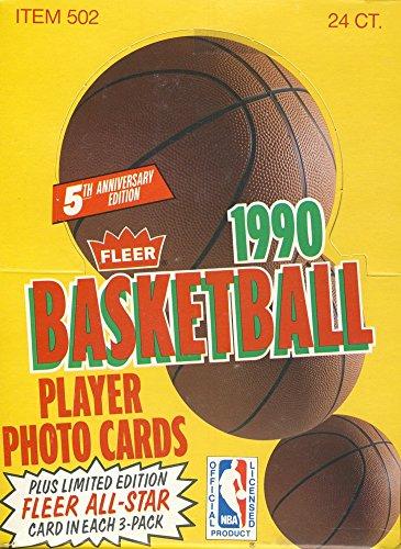 1990-91 Fleer Basketball Rack Pack Box - 24 Rack Pack Box