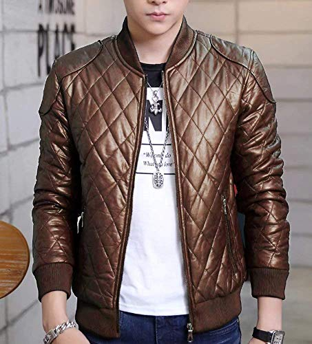 Windbreaker Yellow Winter Jacket Zippered Slim Warm Autumn Fur Clothing HX Quilted Biker Padded Leather fashion Sizes Pu Men's Fit Down Khaki Outerwear Coat Comfortable wUgH0q