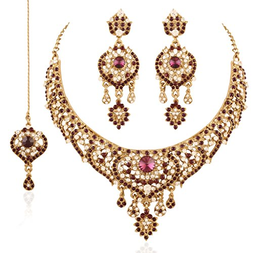 I Jewels Necklace Set with Maang Tikka for Women M4039Pu (Purple) by I Jewels