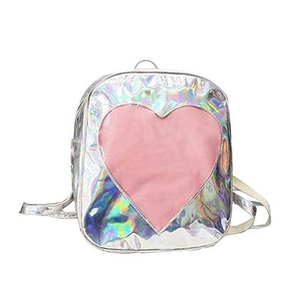 086dedadd Fashion Hologram Backpack Laser Holographic School Travel Shoulder Bag  Women Girls Soft PU Leather Backpack (Silver): Amazon.in: Home & Kitchen