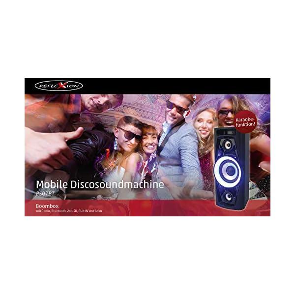 Reflexion PS07BT Système DJ Karaoké PA, avec Batterie et Effets Lumineux (Bluetooth, USB, AUX, Prise Microphone, raccordement de Guitare, 320W), Noir 4
