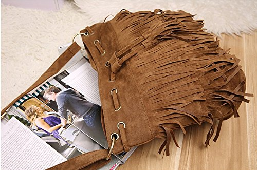 fashion brief vintage tassel bucket bag drawstring shoulder messenger bag suede women's handbag Brown -