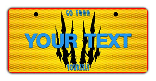 (BleuReign(TM Personalized Custom Name Superhero Series: Go F#CK Yourself Yellow Claws Man License Plate Bicycle Bike Moped Golf Cart 3