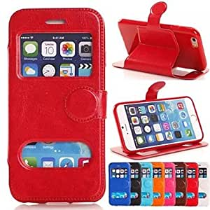 LZX Round Buckle Crazy Horse TPU New Smart Luxury Flip Leather Cover for iPhone 6 (Assorted Colors) , Rose