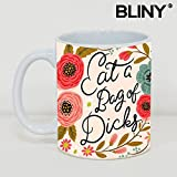 BLINY Funny Flower Quote Coffee Mug - Eat A Bag Of Dicks - Coffee/Tea Cup Gift for Father's Day or Friend,Mother,Birthday