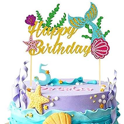 Decoración para tarta de sirena para fiesta de cumpleaños ...