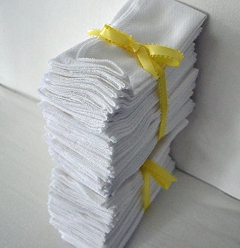 Paperless Towels, 1-Ply, Made from White Cotton Birdseye Fabric - 11x12 inches (28x30.5 cm) Set of 50 by Gina's Soft Cloth Shop