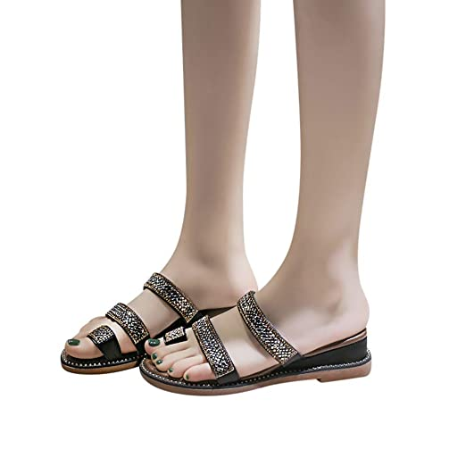 d694abc01b2 Amazon.com: Veodhekai Womens High Heel Wedge Sandals Rhinestone ...