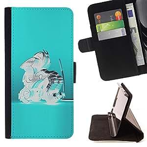 BullDog Case - FOR/Samsung ALPHA G850 / - / BLUE CRYSTAL GLASS TEAL ABSTRACT SAMURAI /- Monedero de cuero de la PU Llevar cubierta de la caja con el ID Credit Card Slots Flip funda de cuer