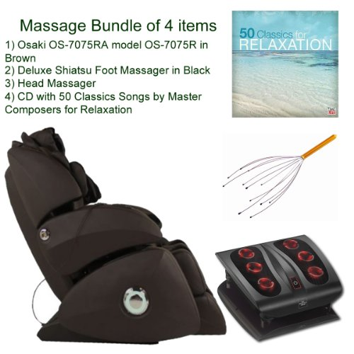Massage Bundle of 4 items: Osaki OS-7075B Cream model OS-7075R Executive ZERO GRAVITY, S-Track Deluxe Massage Chair, Brown, Synthetic Leather, Shiatsu Foot Massager in Black, Head Massager and Double CD with 50 Classics Songs by Master Composers for (Deluxe Synthetic Leather)
