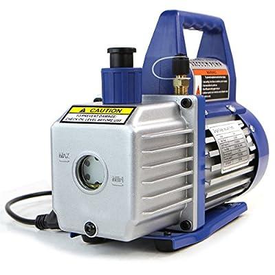 XtremepowerUS 1/4 HP 3 CFM Single Stage Rotary Vane Air Vacuum Pump with Oil Bottle HVAC Air AC A/C R410a R134 (3CFM): Automotive