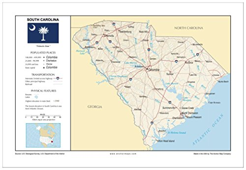 13x19 South Carolina General Reference Wall Map - Anchor Maps USA Foundational Series - Cities, Roads, Physical Features, and Topography - Physical Features Usa