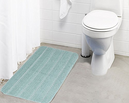 Lushomes Anti Slip Microfiber Polyester Warm Silver Extra Large Bath Mat  19 x 30 , Single Pc