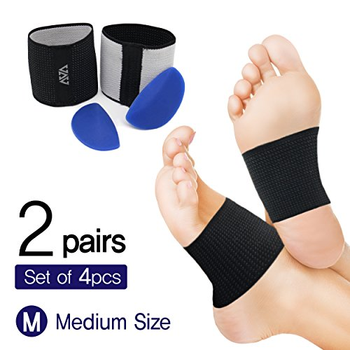 Cushioned Arch Supports-plantar fasciitis braces & Detacheable Soft Gel Cushions(DIY) - Compression Sleeve Wrap to Relieve Foot Pain, Flat Feet, Heel spurs(2 PAIR SET- Medium)