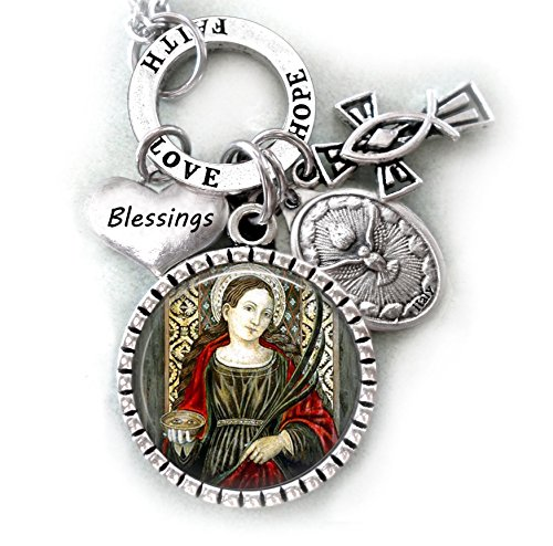 Saint Lucy Necklace  Keychain Or Purse Clip  Catholic Confirmation Patron Saint Of Those With Eye Diseases Cataracts  Glaucoma  Blindness