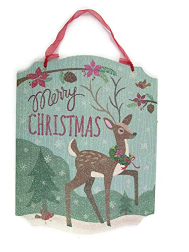 - Merry Christmas ~ Decorative Glitter Wall/Hanging Sign - 13 1/2 X 10 1/2
