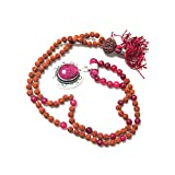Spiritual Prayer Malas Pink Jade Rudraksha Prayer Beads Yoga Japa Mala 108+1