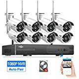 HisEEu Wireless Security Camera System,8CH 1080P NVR Home Security Camera System(CCTV Kits) with 8PCS 960P Inddor/Outdoor Bullet IP Cameras, surveillance,1TB HDD Pre-install
