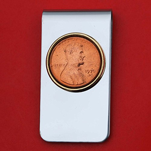 (US 1970 Lincoln Small Cent BU Uncirculated Penny Coin Stainless Steel Gold Silver Two Tone Money Clip NEW - Lucky Penny)