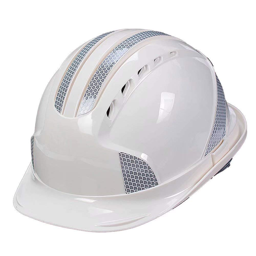 Nwn Safety Helmet Construction Site Electric Power Vented Hard hat Breathable Helmet with Reflective Strip (Color : White)