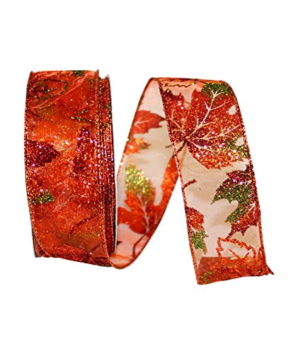 (Reliant Ribbon 93032W-058-09H Leaves Glitter Sheer Wired Edge Ribbon, 1-1/2 Inch X 20 Yards, Orange)