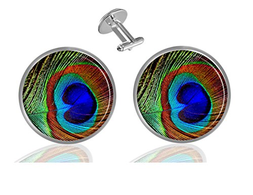 ecowcow Peacock Feather Custom Classic Jewelry Tuxedo Shirt Cufflinks Men's Unique Business Wedding Gifts -