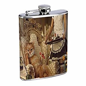 Funny Cat Flask D9 8oz Stainless Steel Cute Pets Silly Kittens Playful Animals