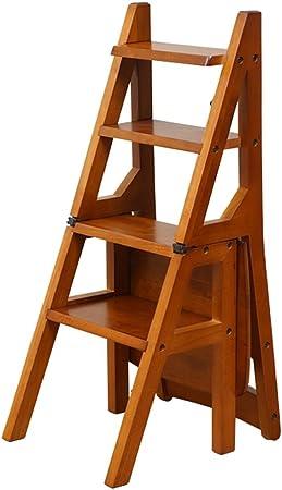 LAXF- Sillas Escalera Plegable Madera Silla Plegable de Madera de Las escaleras Silla casera de múltiples Funciones del Paso de los Muebles 4 Pasos: Amazon.es: Hogar