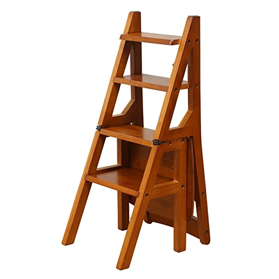 Amazon.com: Step Stool Wood,Bed Steps/Plant Stand Wooden Folded ...