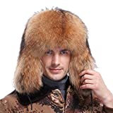 URSFUR Women's Raccoon Full Fur Russian Hats (One Size, Natural Color)